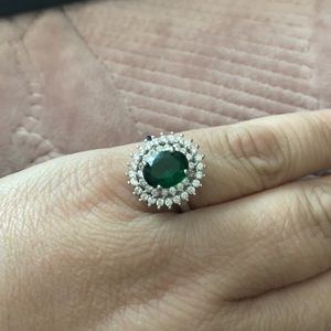 Mystic oval emerald CZ silver ring